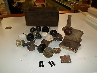 Vintage Antique Lot Salvaged Door Knobs, Locks, Even the Old box I found them in