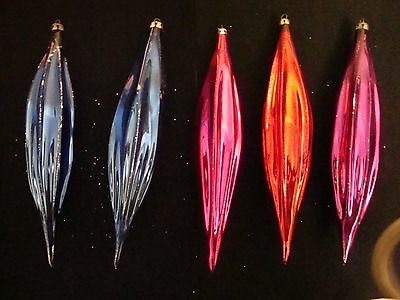 5 Vintage Glass Christmas Tree Icicle Ornaments – Large