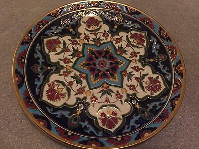 Vintage GREEK Art Pottery Plate HAND MADE NASSOS Rodos Hellas Greece Flowers