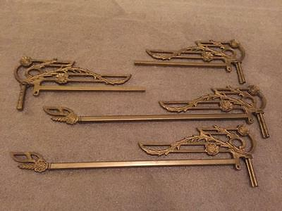 Set 4 Vintage Metal Swing Arm Curtain Rods Matching 2 Complete 2 Partial