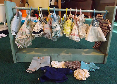 10 Vintage Ginger Doll Dress 5 tagged comes with hangers and wood display