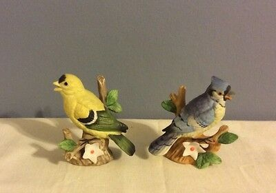 Vintage Lefton Yellow Finch & Blue Jay Ceramic Figurine #00749 -Mint