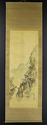 JAPANESE HANGING SCROLL ART Painting Scenery Asian antique  #E2826