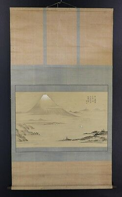 "JAPANESE HANGING SCROLL ART Painting Scenery ""Mt.Fuji"" Asian antique  #E2819"