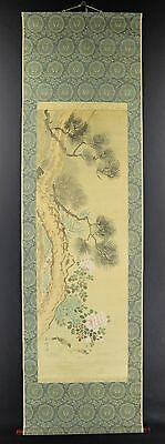 "JAPANESE HANGING SCROLL ART Painting ""Flower and Bird"" Asian antique  #E2834"