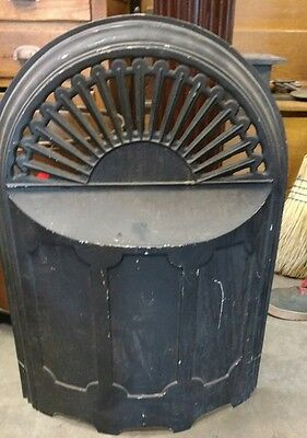Vintage ornate steam punk cast iron arched summertime fireplace cover antique