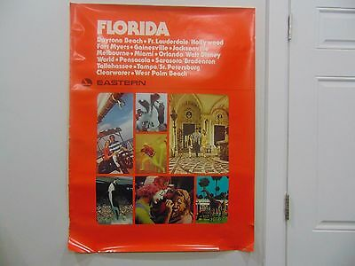Vintage Very Large Eastern Airline Florida Travel Poster 30 X38