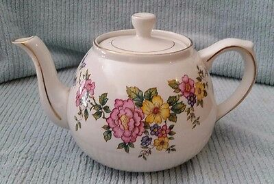 Ellgreave Ironstone White Tea Pot With Flowers Wood & Sons England