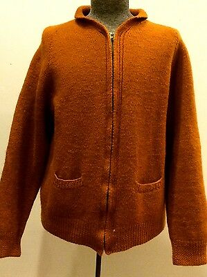 Vintage 60s Wool Zip Mens Large Orange Roll Collar Cardigan Sweater