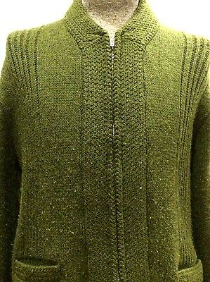 Vintage 60s Olive Green Wool Mens Medium Zip Cardigan Sweater