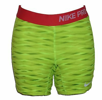 Nike Pro Core Compression Girls' Shorts Large Yellow Printed  Polyester