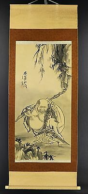 """CHINESE HANGING SCROLL ART Painting """"Hotei"""" Asian antique  #E2685"""