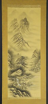 JAPANESE HANGING SCROLL ART Painting Sansui Landscape  Asian antique  #E2506