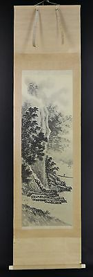 JAPANESE HANGING SCROLL ART Painting Sansui Landscape Asian antique  #E2403