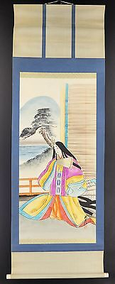 "JAPANESE HANGING SCROLL ART Painting ""Noble Laday"" Asian antique  #E2466"