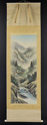 JAPANESE HANGING SCROLL ART Painting Sansui Landscape Asian antique  #E2703