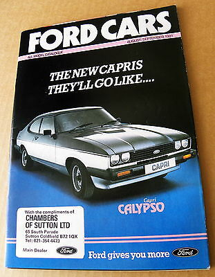 FORD CARS ALL MODEL CATALOGUE. AUGUST & SEPTEMBER 1981. Virtually mint condition