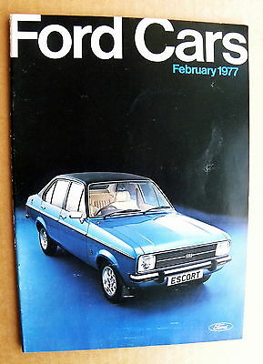 FORD CARS ALL MODEL CATALOGUE. February 1977 + Price List. near mint.