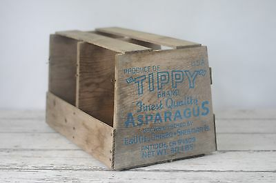 Vintage Old Wood Asparagus Crate Primitive Produce Crate  Box Tippy Brand USA