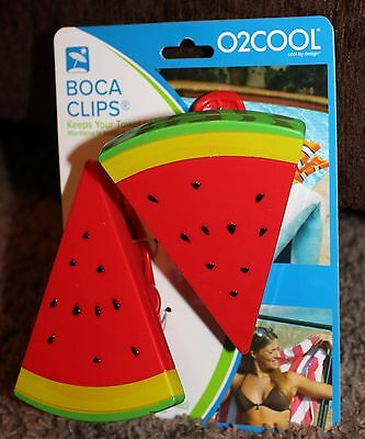 NEW 2-pk BOCA CLIPS vacation WATERMELON SLICES towels BEACH chairs CRUISE