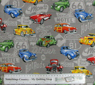 Quilting Patchwork Cotton Sewing Fabric HOT ROD Vintage CARS 50x55cm FQ NEW