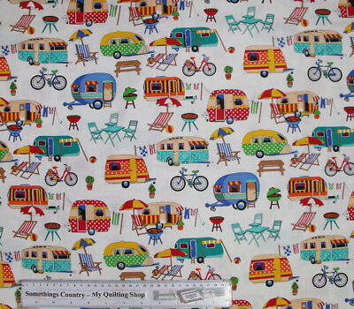 Quilting Patchwork Cotton Sewing Fabric GETAWAY CARAVAN 50x55cm FQ NEW