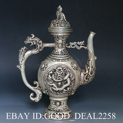 Chinese Silver Copper HandCarved Dragon Teapot w  & KangXi mark