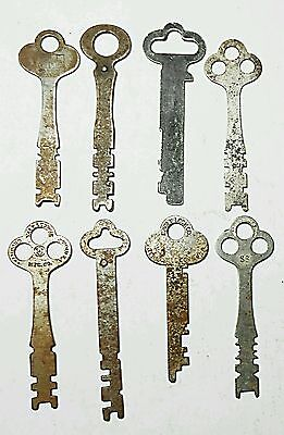 8 Long Flat Skeleton Keys Ornate Antique Lot of Long Vintage Rare Collectible