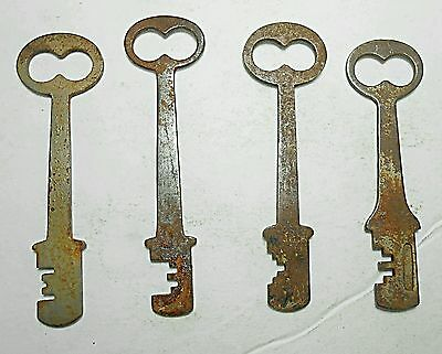 4 Ornate Antique Lot of Long Flat Skeleton Keys Vintage Rare Steampunk Crafts