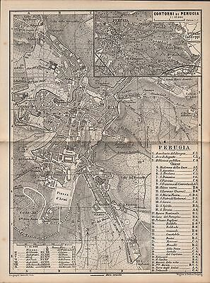 1883 Central Italy - Plan Of Perugia, Tuscany, Inset Of Environs