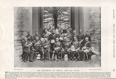 1897 Antique Military Print-Governor Of Malta And His Staff
