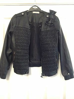 Girls Black Leather Supertrash Jacket size 128