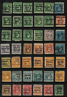 United States Inverted Precancels, on early Washington Franklins, 42 diff, F/VF