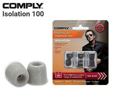 Comply Foam T-100 Isolation 3 Pairs In-Ear Earphone Tips Medium Platinum MP