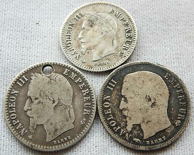 France, Napoleon, 3, 50/20 Cents Silver, Coins.