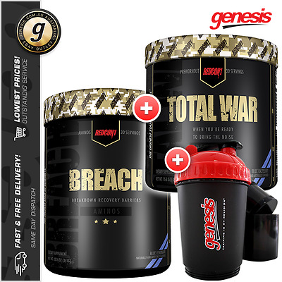 Total War + Breach by Redcon1 + 3 in 1 Shaker - Pre-Workout and BCAA COMBO!