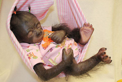 Pearl Monkey Kit Make A Baby Gorilla Painted & Rooted With Body & Weighting Kit