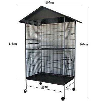Large Wooden Bird Cage Parrot Aviary House Waterproof Roof Wire Mesh