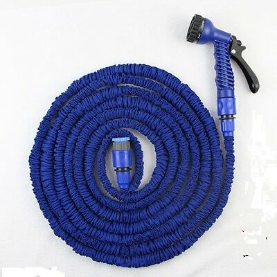 150ft Blue Expanding Flexible Expandable Garden Water Hose Pipe + Spray Nozzle