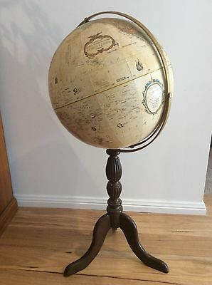 "Vintage Retro Repologie World Globe 16"" On Timber Stand"