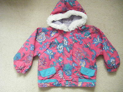 littlewoods girls pink and green pattern hooded coat age 4
