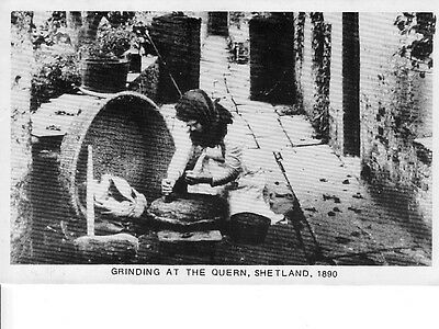 Post Card,grinding At The Quern,shetland,1890