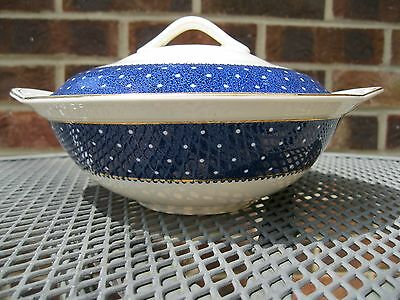 Ridgway Conway Blue serving lidded Tureen/Dish guaranteed 22KT Gold decoration