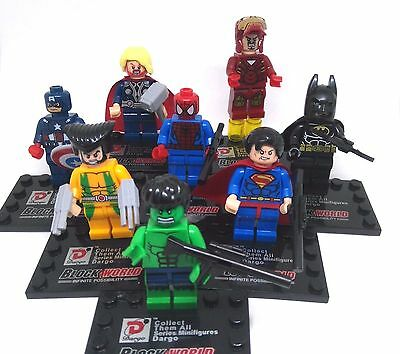 DARGO 8 Pc Set Marvel Avengers DC Superhero Minifigures Mini Figures. Fits Lego