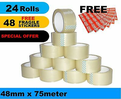 24 Roll Packing Tape Sticky Sealing Shipping Box 48mm 75m + 48 Fragile Stickers