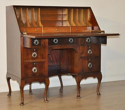 Attractive Large Vintage Flame Mahogany Writing Bureau Cabinet With Drawers