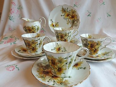 "Beautiful Vintage Bone China Royal Standard ""brown Eyed Susan"" 13 Piece Tea Set"