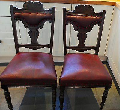 2 x Lovely Antique Oak Dining Chairs