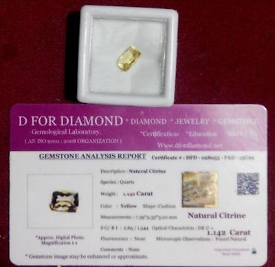 1.142 Ct Natural Citrine Yellow Cushion Cut Loose Gemstone with Lab Certificate