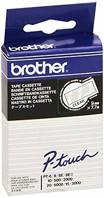 Brother Gloss Laminated Labelling Tape - 9mm, White/Clear